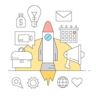 Lineare icone di stile di avvio e di elementi aziendali