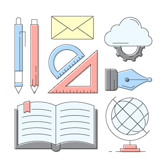 Lineare icone di stile Istruzione e apprendimento Elementi