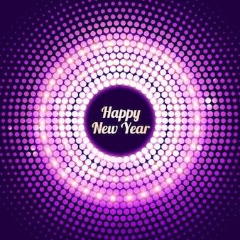 Lucido nuovo sfondo punteggiato anno in colore viola