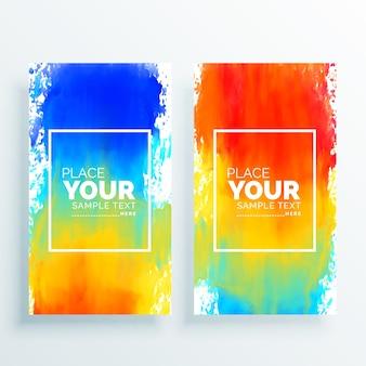 Luminoso sfondo colorato banner con acquerello spruzzi