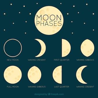 Luna fantastica in diverse fasi