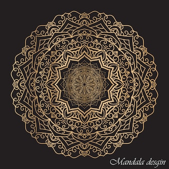 Mandala arrotondato con sfondo scuro