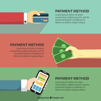 Mani che pagano con carta di credito, contanti e telefono