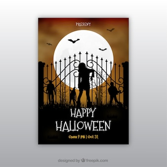 Manifesto di Halloween party con zombie