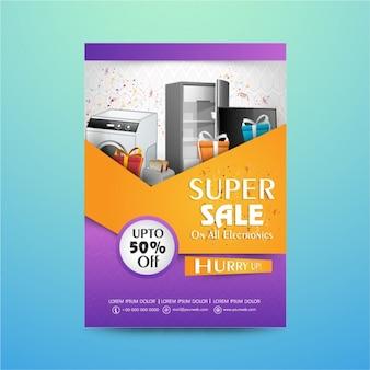 Manifesto di vendita con i prodotti elettronici e regali
