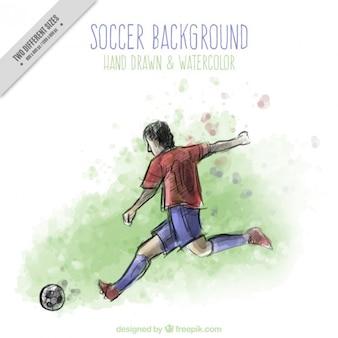 Mano calciatore disegnato in acquerello effetto di sfondo