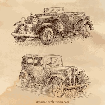 Mano elegante disegnato auto d'epoca