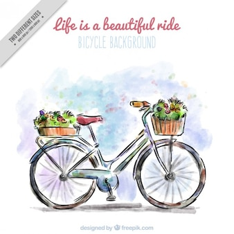 Mano moto disegnato con i fiori sfondo in effetto acquerello