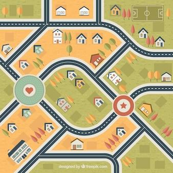 Mappa decorativo della città con le case e gli alberi