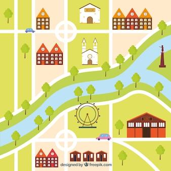 Mappa della città con disegno piatto
