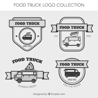 Marchio di camion degli alimenti d'epoca con nastri