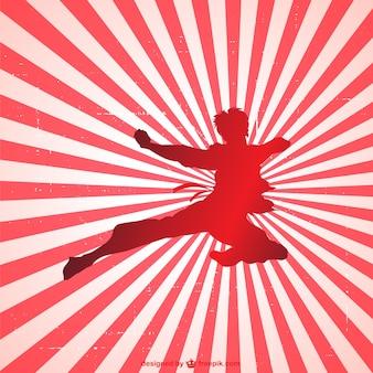 Martial art silhouette vettore