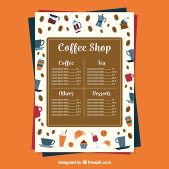 Menu caffè su sfondo arancione