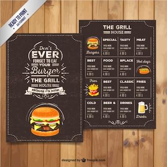 Menu del ristorante Grill in stile retrò
