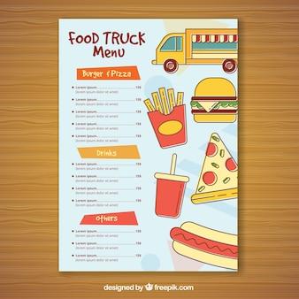 Menu di camion alimentare disegnato a mano