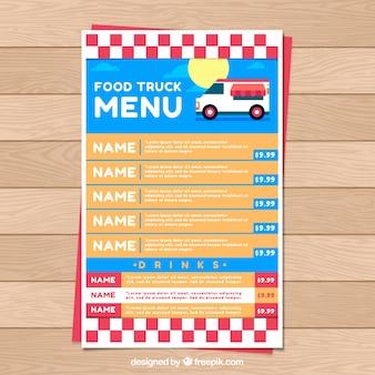 Menu di camion cibo alimentare piatto con sole e cielo blu