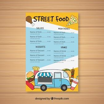 Menu di camion di alimento disegnato a mano con varietà di fast food