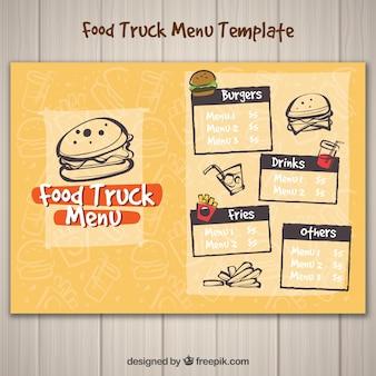 Menu di camion di cibo divertente con hamburger