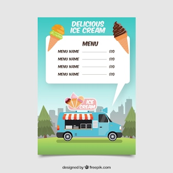 Menu di camion gelato fresco
