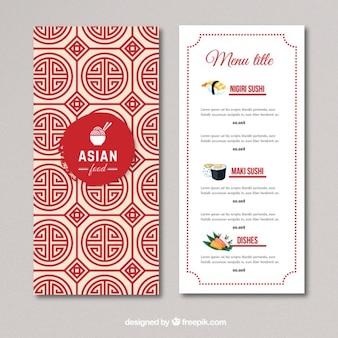 Menu di cibo asiatico