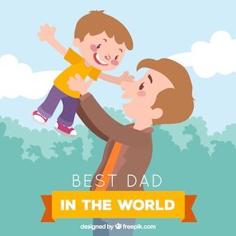 Miglior papà sullo sfondo del mondo