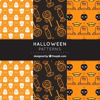 Modelli di Halloween impostati in grigio scuro e arancione