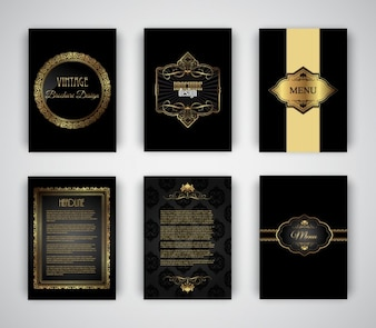 Modelli di opuscoli eleganti e dorati