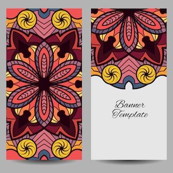 Modello banner multicolore mandala