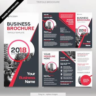 Modello Brochure aziendale in Tri Fold Layout. Fogli di design aziendali con immagine rimpiazzabile.