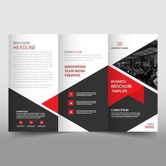 Modello brochure illustrativo trifold rosso