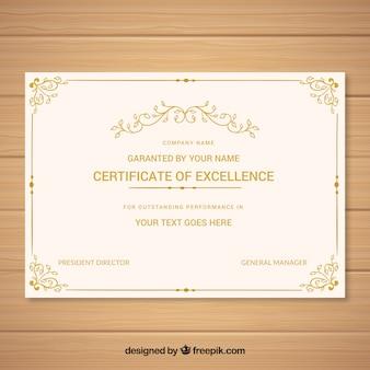 Modello d'epoca del diploma d'oro