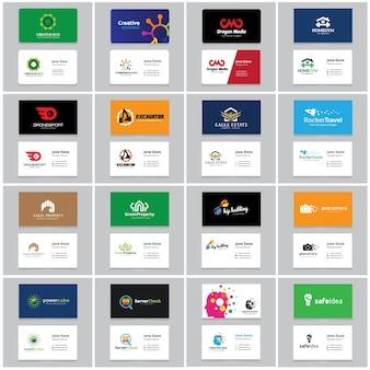 Modello di biglietto da visita e marchio di identità. Set di raccolta di logo.