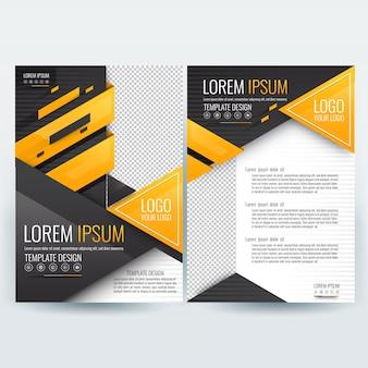 Modello di brochure aziendale con figure geometriche triangolari arancioni e nere