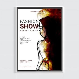 Modello di brochure con silhouette astratta femminile