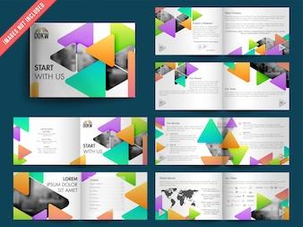 Modello di brochure con triangoli colorati