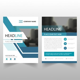 Modello di brochure utili con le figure geometriche blu