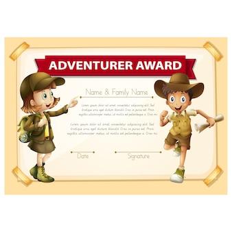 Modello di certificato avventura