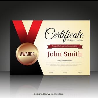Modello di certificato con una medaglia