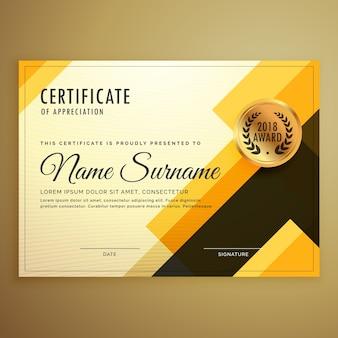 Modello di certificato design creativo moderno con forme geometriche