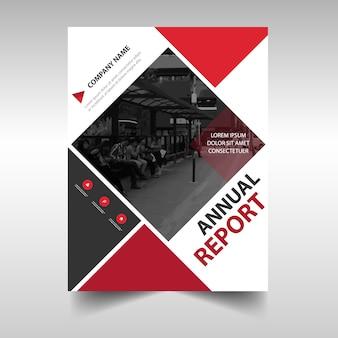 Modello di copertina del libro rosso di rapporto quadrato rosso creativo