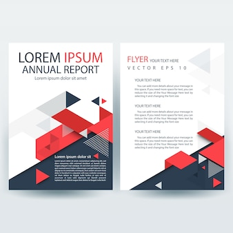 Modello di copertina di report creativo rosso e grigio con forme geometriche