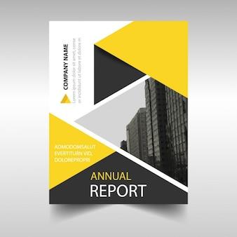 Modello di copertina geometrico giallo e nero
