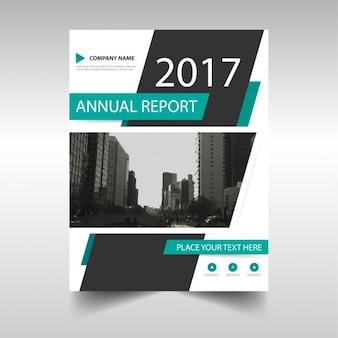 Modello di copertina relazione annuale verde e nero