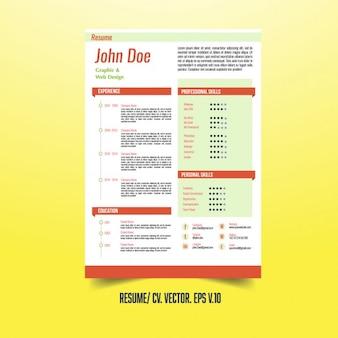 Modello di curriculum creativo con gli elementi infographic
