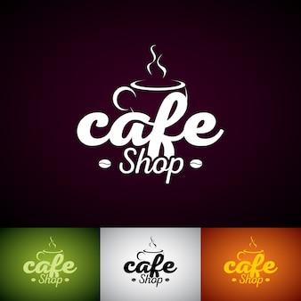 Modello di disegno di marchio di vettore della tazza di caffè. Set di illustrazione etichetta Shop Cofe con vari colori.