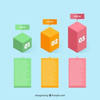 Modello di infografica semplice con gradini