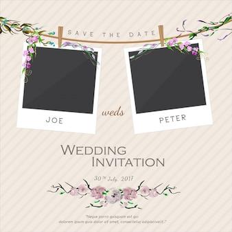 Modello di invito di nozze floreale