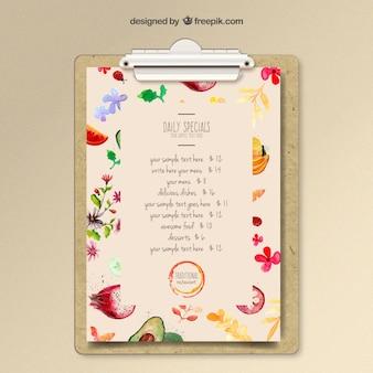 Modello di menu Acquerello