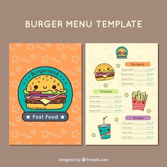 Modello di menu con caratteri alimentari