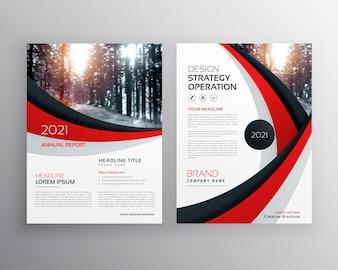Modello di progettazione brochure flyer aziendale con forma ondulata rossa e nera